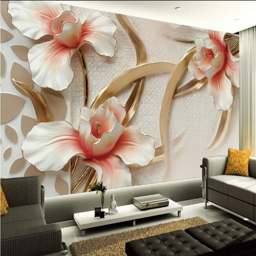 Фотообои с большими цветами на стену