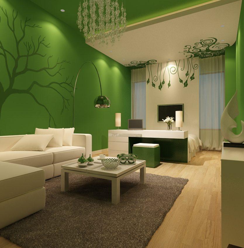 Интерьер в пастельном зеленом цвете