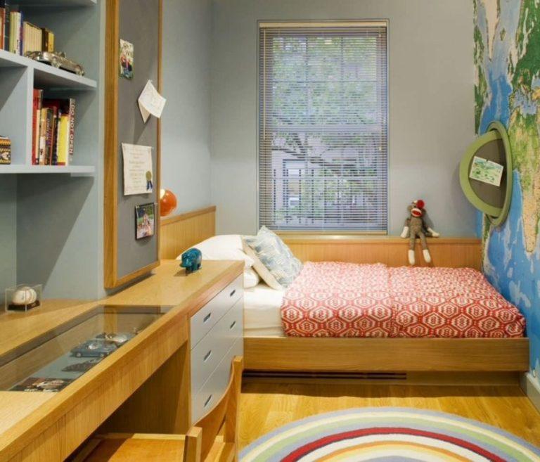 Узкая детская спальня дизайн