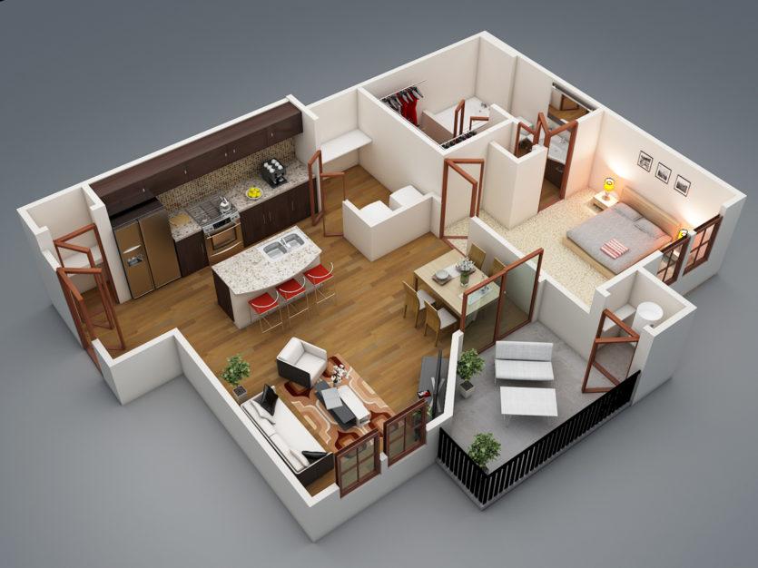 Серия п-3мк : планировка 3-х комнатной квартиры
