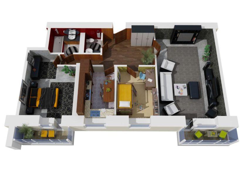 План схема 3 комнатной квартиры 342