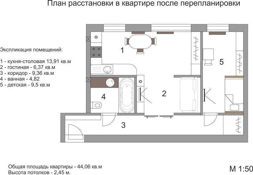 Перепланировка однокомнатной квартиры в доме серии