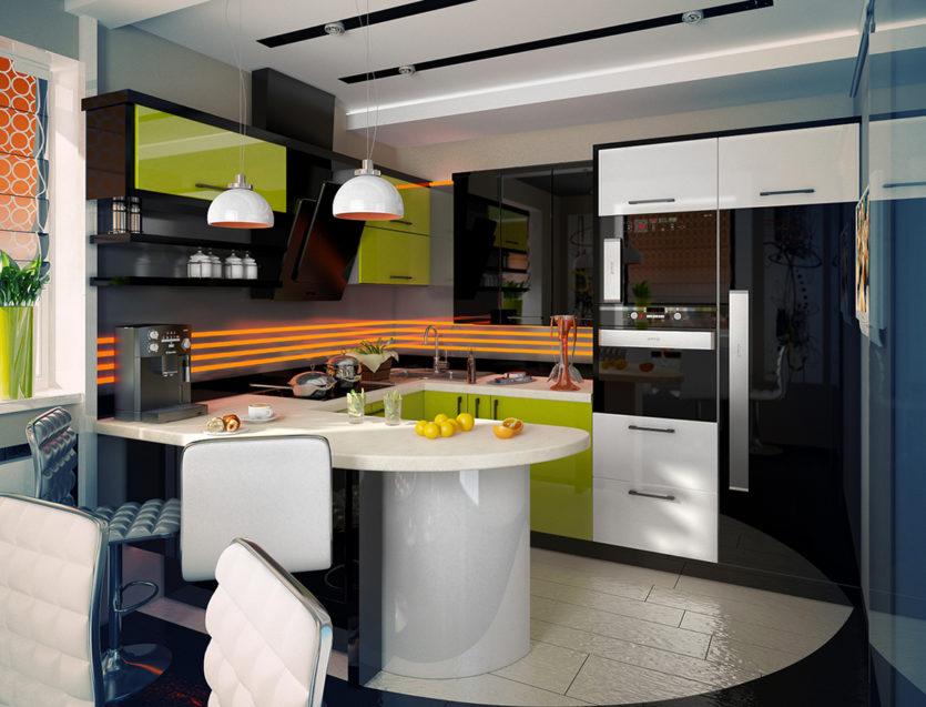 Современная п образная кухня дизайн