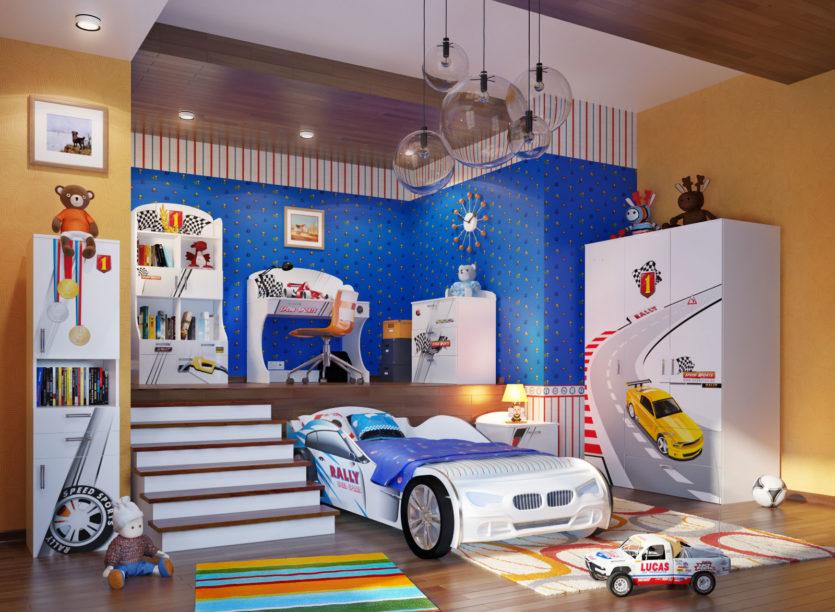 Детский интерьер с кроватью машинки