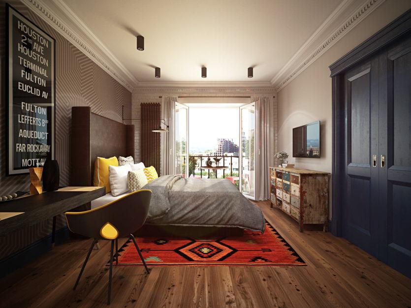 Spalnya v stile loft 47